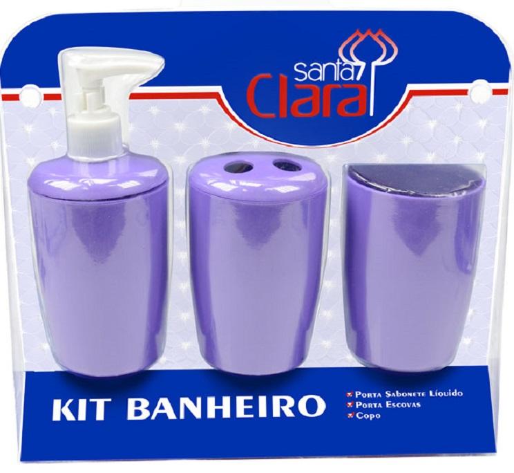 Kit Com 03 Peças Para Banheiro Lilás- Santa Clara