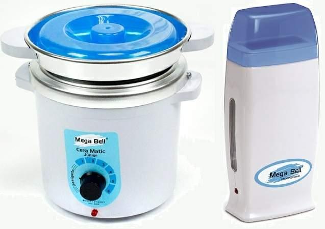 Kit Depilação Termocera 400gr Com Refil Branca Com Azul + Aquecedor de Cera Roll-on Azul Mega Bell
