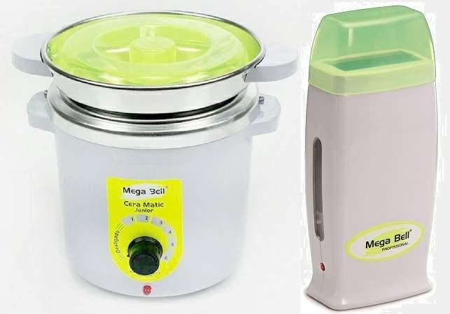 Kit Depilação Termocera 400gr Com Refil Verde Limão + Aquecedor de Cera Roll-on Verde Limão Mega Bel