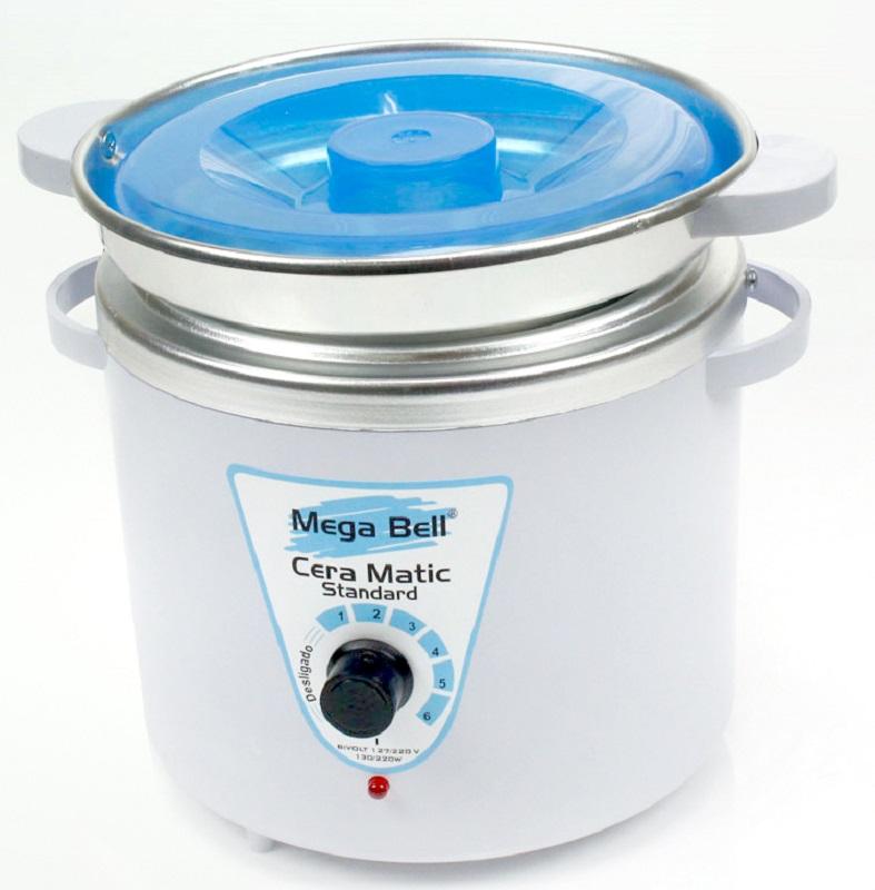 Panela Termocera para depilação Standard 700g - Bivolt Branca Com Azul Com Refil