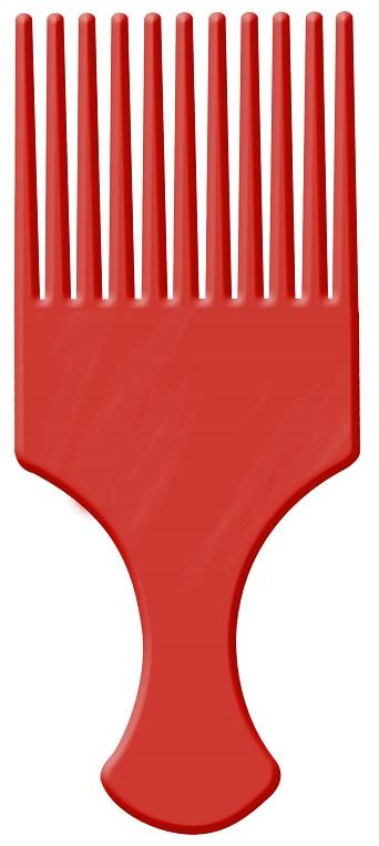 Pente Afro Vermelho Com Dentes Largos - Santa Clara