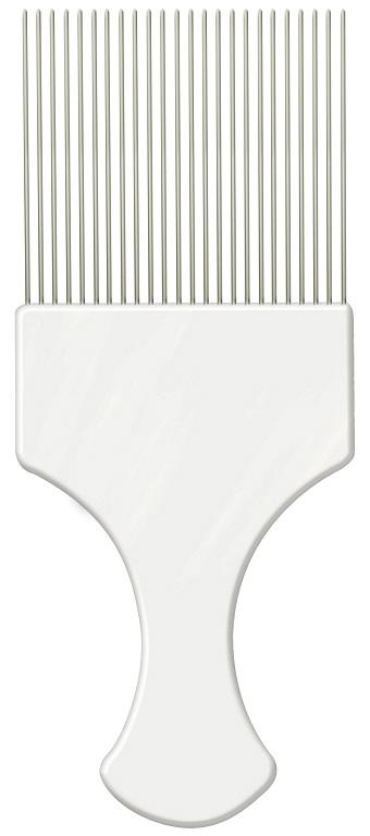 Pente Plástico Afro Branco Com Dentes Finos de Aço