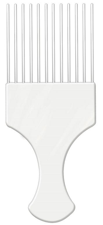 Pente Plástico Afro Branco Com Dentes Finos - Santa Clara
