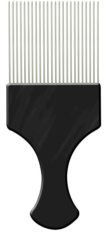 Pente Plástico Afro Preto Com Dentes Finos de Aço