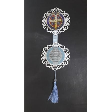 AD02 - Adorno de Porta Madeira 13cm Medalha São Bento