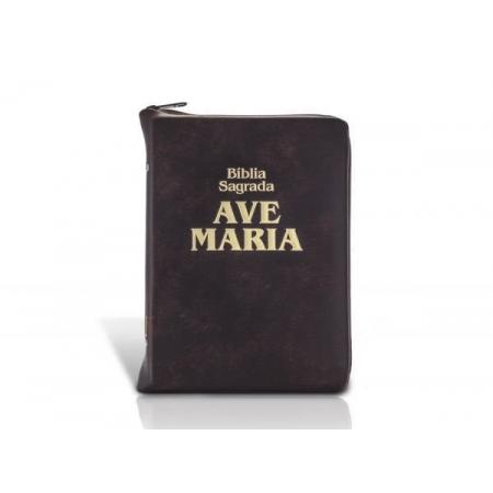 Bíblia Sagrada Ave Maria Bolso c/ Ziper Marrom