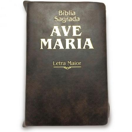Biblia Sagrada Ave Maria Marrom Ziper Letra Maior