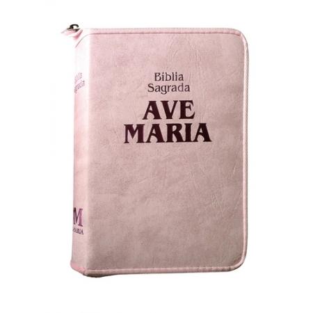 Biblia Sagrada Ave Maria Media c/ Ziper Rosa Strike