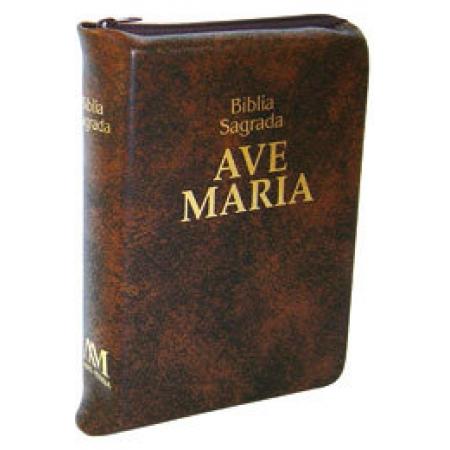 Bíblia Sagrada Ave Maria Media Marrom c/ Ziper