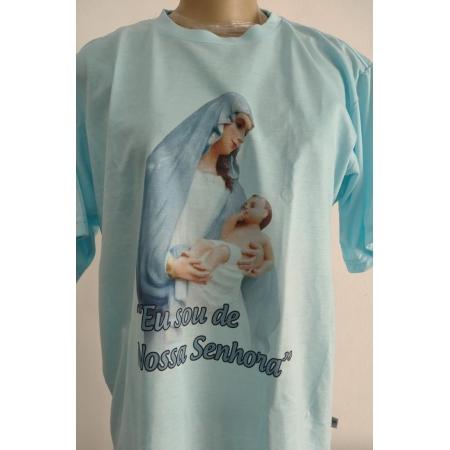 CA34 - Camiseta Poliester Branca Eu Sou de Nossa Senhora