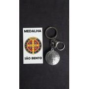 CH311 - Chaveiro Medalha São Bento 32mm c/ Mosquetão Niquel