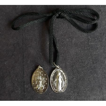 CR111 - Cordão Medalha Nossa Senhora das Graças 30mm Niquel