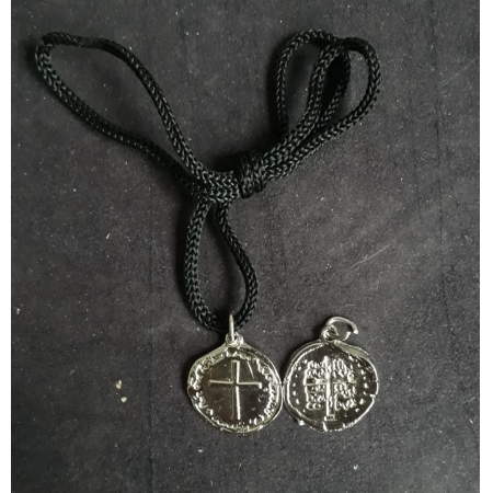 CR137 - Cordão Medalha Duas Cruzes 24mm Niquel
