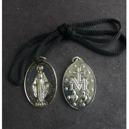 CR41 - Cordão Medalha Nossa Senhora das Graças 5cm Resinado Niquel Azul