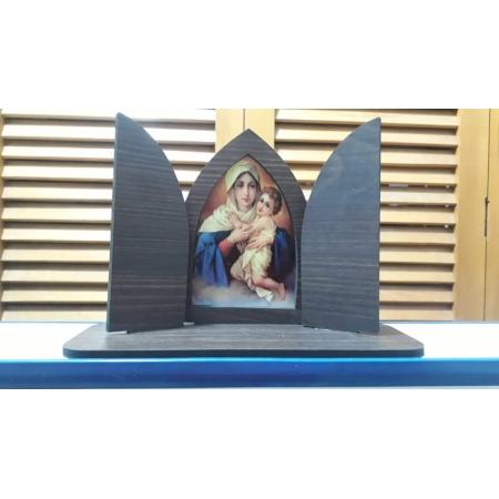 CT11 - Capela Madeira c/ Porta Mãe Rainha 16cmX24cmX9cm