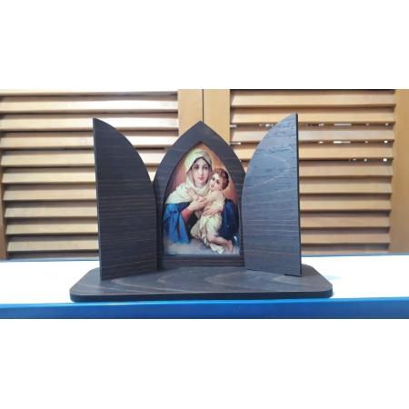 CT13 - Capela Madeira c/ Porta Fixa Mãe Rainha 13cmX19cmX7cm