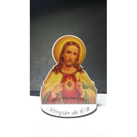CT19 - Busto MDF Sagrado Coração de Jesus 10cm Madeira