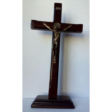 CX04 - Crucifixo Madeira São Bento 25cm Fino