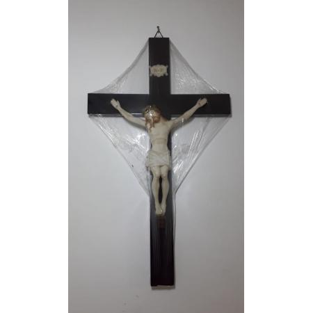 CX106 - Crucifixo Madeira c/ Cristo 46cm Resina Parede