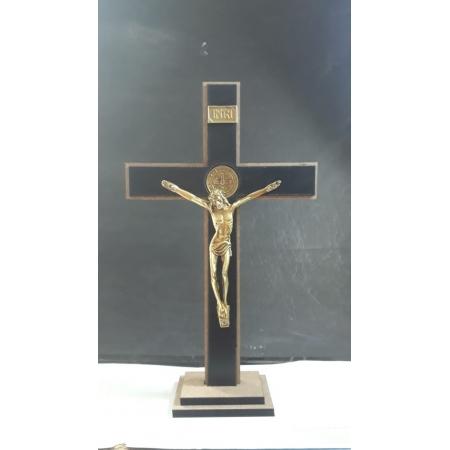 CX12 - Crucifixo Madeira MDF Cruz São Bento 23cm