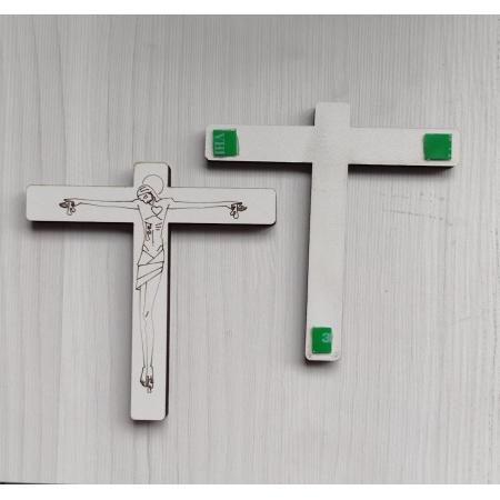 CX15 - Crucifixo Madeira Cristo Lazer 10cm Branca