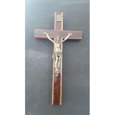 CX28 - Crucifixo Madeira 30cm c/ Cristo Crucificado Parede