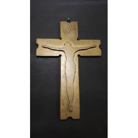 CX39 - Crucifixo Madeira Cruz Cristo Relevo 30cm