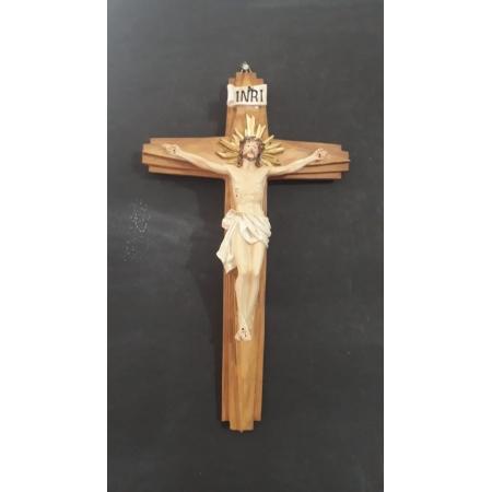 CX41 - Crucifixo Resina 28cm c/ Cristo Crucificado Parede