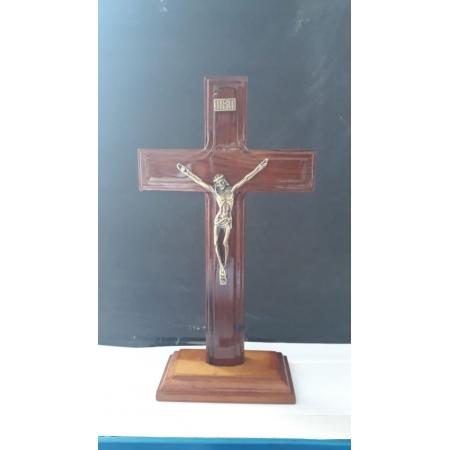 CX45 - Crucifixo Madeira Cruz São Bento Liso 20cm