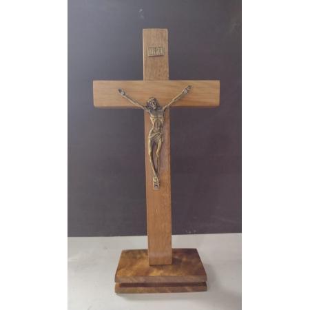 CX50 - Crucifixo Madeira c/ Cristo Crucificado Liso 20cm