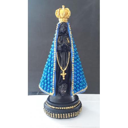ID1103 - Nossa Senhora Aparecida 17cm Perola Azul Resina