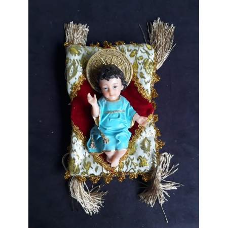 IM24 - Menino Jesus Esplendor 15cm Roupa Azul c/ Almofada