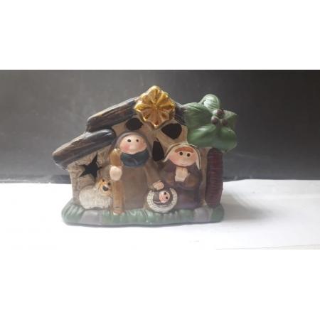 IN44 - Presepio Casa 10cm c/ Luz Resina - Art Christmas