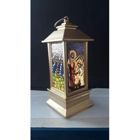 IN66 - Luminária Presépio Vitral 13cm Dourado c/ Luz