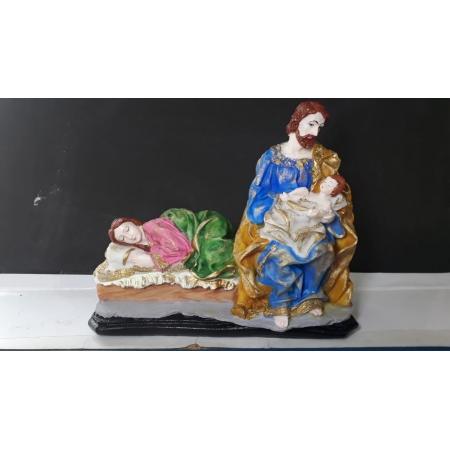 IV1114 - Maria Dormindo e Jose c/ Menino Jesus 18cmX17cm