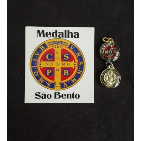 M02 - Medalha São Bento 10mm Resinado Niquel/Dourado