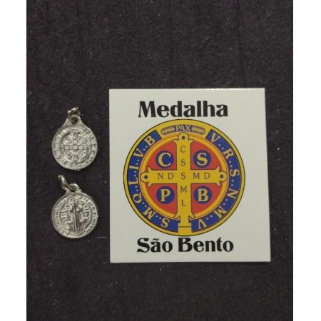 M21 - Medalha São Bento 12mm Niquel c/ oração