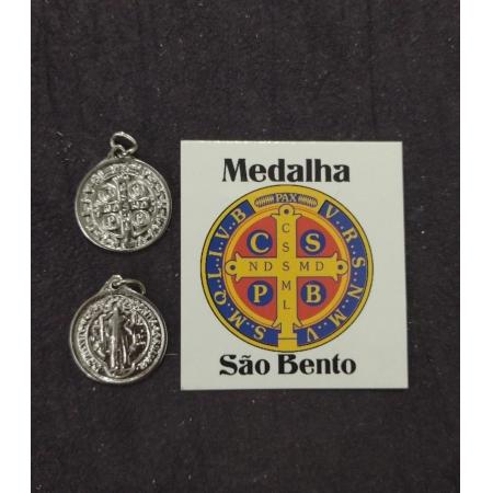 M45 - Medalha São Bento 19mm Niquel c/ oração