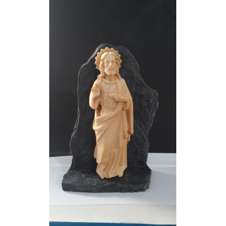 P156 - Sagrado Coração de Jesus na Pedra 15cm Resina