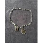 PUL03 - Cadeia Aço para Consagração Nossa Senhora das Graças 22cm c/ Cadeado - Pulseira