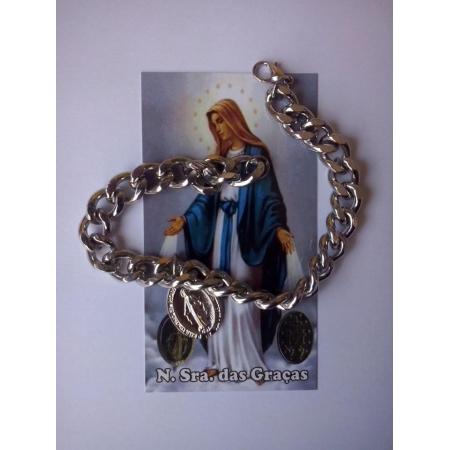 PUL05 - Cadeia Aço para Consagração Nossa Senhora das Graças 22cm c/ Cadeado - Pulseira 25mm (I17)