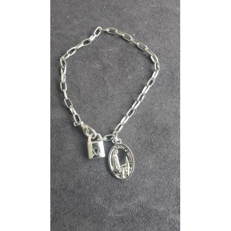 PUL07 - Cadeia Aço para Consagração Nossa Senhora de Fatima 22cm c/ Cadeado - Pulseira