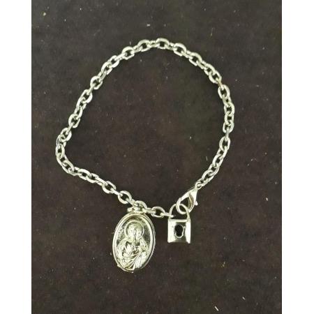 PUL12 - Cadeia Aço para Consagração Nossa Senhora do Carmo 22cm c/ Cadeado - Pulseira