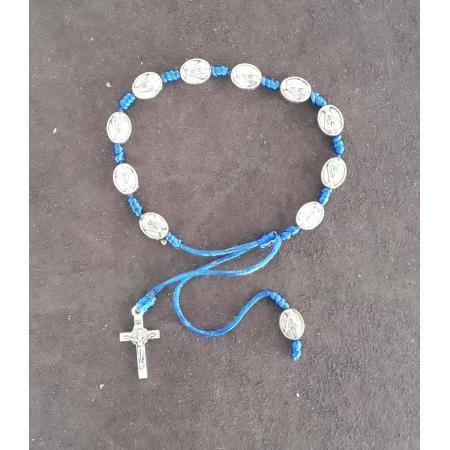 PUL33 - Pulseira Cetim Azul Nossa Senhora Aparecida Niquel