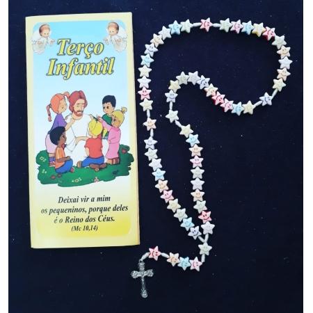 T153 - Terço Infantil Estrela Smile c/ Oração