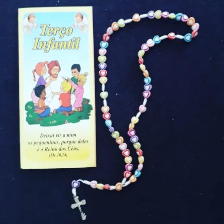 T181 - Terço Infantil Coração c/ Oração