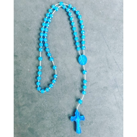 T192 - Terço Plastico Flor 4mm Azul