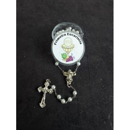 TL56 - Terço Perola Branca c/ Cálice Eucaristia 3mm