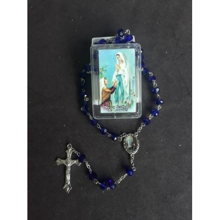 TL58 - Terço Plastico Facetado 6mm Nossa Senhora de Lourdes Azul Escuro
