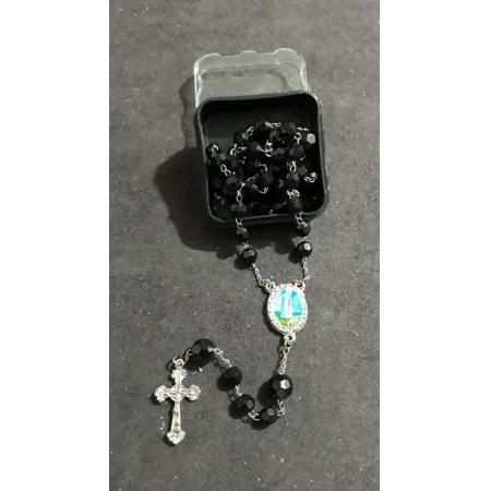 TL61 - Terço Plastico Facetado 6mm Preto Nossa Senhora de Fatima Niquel
